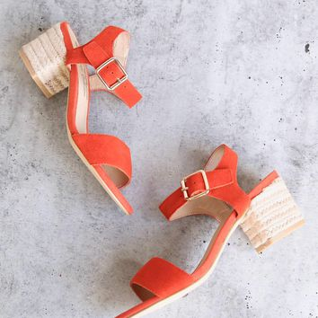 Sbicca - Whirlaway Burnt Orange Suede Leather Ankle Strap Jute Heels
