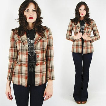 vtg 70s boho hippie retro RUST red brown tartan PLAID wool SKINNY fit boyfriend blazer jacket xs