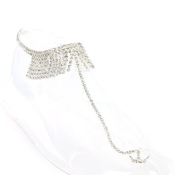 Clear Connected Toe Ring Stretch Rhinestone Anklet