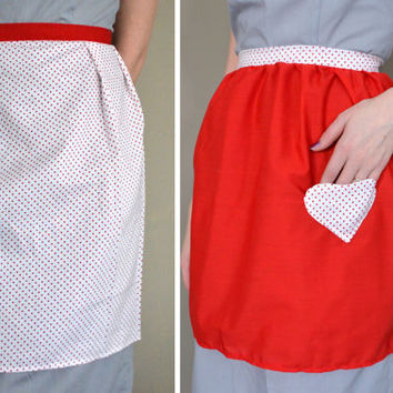 SALE. Red Half Aprons with Heart-shaped Pocket and Polka Dots. Sample Sale.