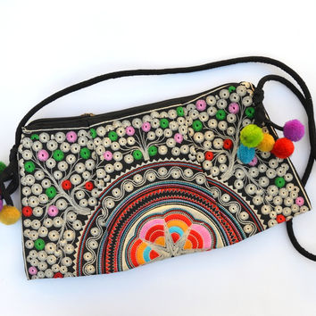 Star Mandala: Embroidered Shoulder Bag with Tassels