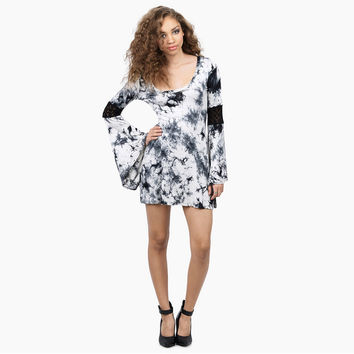Ink Print Trumpet Sleeve Mini Dress
