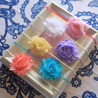 Sisters Photo Prop...Baby Girl... Little Girl...Shabby Chic Flower Headband Set - 6 Pack Headband Lot - Spring Colors - Made to Order