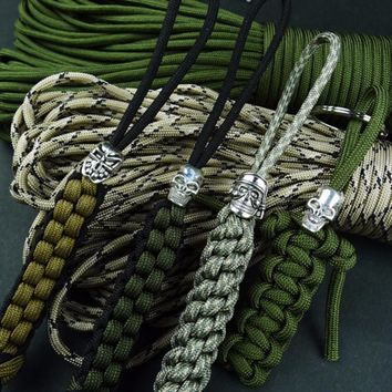 Outdoor Paracord Beads Skull Patterns Lanyard Flashlight Pendant Parachute Cord Tools Key Chain Buckle Decoration