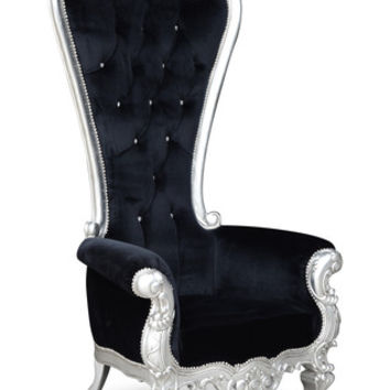 Fabulous and Baroque — Absolom Roche Chair - Silver & Black Velvet
