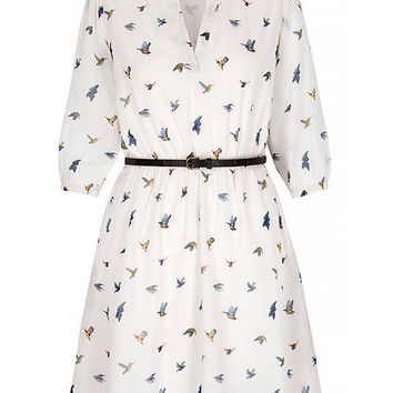 Bird Print Shirt Dress with Belt Included
