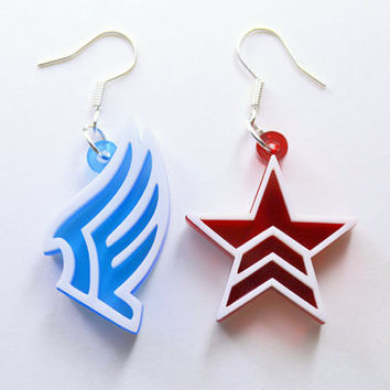 Mass Effect Paragon Renegade Earrings - Laser Cut Acrylic - SALE PRICE