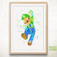 Super Mario Bros, Luigi Mario - Watercolor, Art Print, Home Wall decor, Watercolor Print, Super Mario Poster