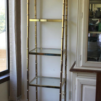 Vintage Brass Faux Bamboo Glass Etagere, Display Shelf, Shelves, Tower (2), Baughman Style, Hollywood Regency, Mid Century Modern