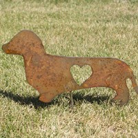 Dachshund Metal Yard Art Garden Stake by metalcrafts on Etsy