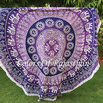 """COR's Purple Ombre Hippie Mandala Tapestry Round Roundie Wall Hanging Beach Towel Throw Yoga Mat Round Tapestry 82"""""""