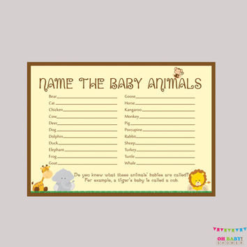 Baby Animals Name Game Baby Shower Printable Safari Baby Shower - Printable Instant Download - Safari Baby Shower Game - BS0001-N
