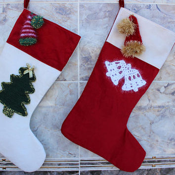 Christmas Stocking Set Crocheted Stockings Santa Hat Handmade Christmas Decor Tree Stocking READY To SHiP