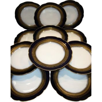 "Set of Eleven (11) Gorgeous Limoges Porcelain 9 1/2"" Dinner / Salad Plate Set ~ Cobalt Blue ~ Gold Encrusted Rim ~ CFH GDM ~ CHARLES FIELD Haviland -  Gerard,  Dufraisseix, And Morel Limoges France 1870-1890"