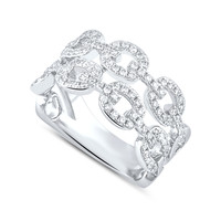 Sterling Silver Simulated Diamond Chain Link Ring