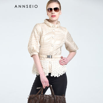 ANNSEIO 2016 Spring brand women cotton padded dress fashion lace coat press button jacket   AC-15A8744