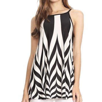 Moa Collection Sleeveless Patterned Tunic with High Low Hemline and Spaghetti Straps