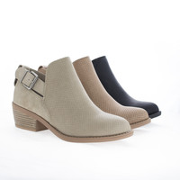 Inspire Tan Pu By Soda, Almond Toe Mid Heel Perforated Ankle Boots