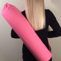 Handmade Yoga Mat Bag, Tote, Mat Carrier - Pink Duck Cloth, Round Base, with Shoulder Strap and Drawstring