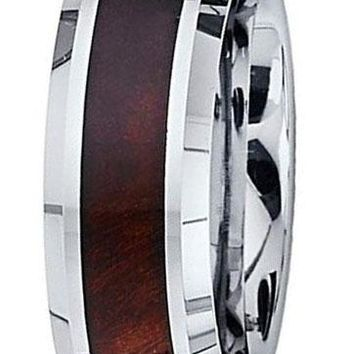 CERTIFIED 8MM Tungsten Mahogany Wood Inlay Polished Engagement Ring Band