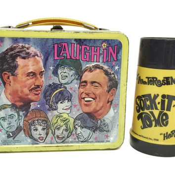 Vintage 60s Laugh-In Metal Aladdin Lunchbox with Thermos