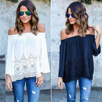 DCCKHQ6 Boho Sexy Women's Off Shoulder Strapless Long Sleeve Tops Blouse Beach Shirts