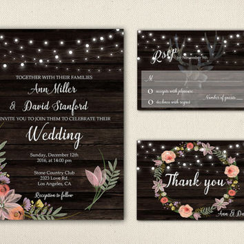 Rustic Wedding Invitation Suite Printable String Lights Dark Wood Floral Digital Pink Flower Wreath Deer Horns Wedding Invite Set - WS008