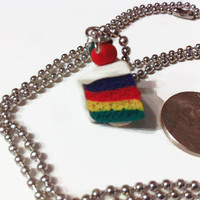 Rainbow Cake Necklace, cake slice, rainbows, colorful accessories, kawaii, miniature food, food jewelry, Polymer clay charms, cake charms
