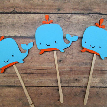 Orange and Aqua Whale Cupcake Toppers - Baby Showers, Under the Sea, Birthday Parties, Nautical Parties, Clambakes, Orange Aqua