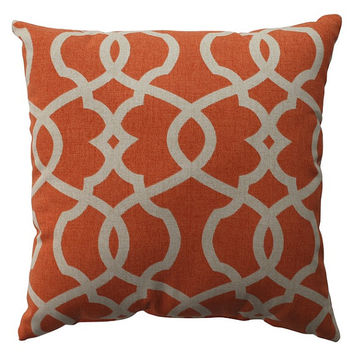 Modern Orange Lattice Scroll Decorative Pillow Cover - 3 Sizes Available