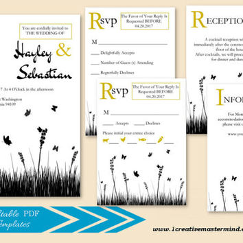 DIY Wedding Invitation Set Template, RSVP, Information Card, Instant Download, Digital, White/Kraft Contemporary Garden Wedding #1CM84-1