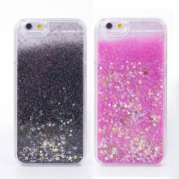 """Luxury Twinkle Glitter Stars Flowing Liquid Case For Apple iPhone 6 iphone6 plus 4.7/5.5"""" Quicksand Plastic Cover Phone Cases"""