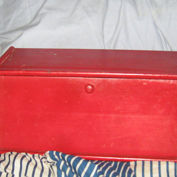 Vintage cottage chic wood painted red bread box