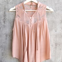 free people - western romance mesh applique top - rose / mauve