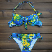 Women's Vintage Turtle Shell Printed Push up Bikini Swimsuits Two Pieces