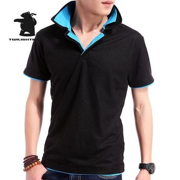 Designer New Men's Polo Shirts Short Sleeve Fashion Double Layer Collar Solid Cotton Casual Polo Shirt Men Tees Plus Size 3XL BE