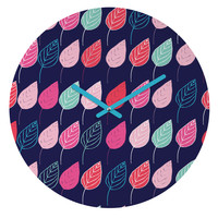 Ali Benyon Happy Leaves Round Clock