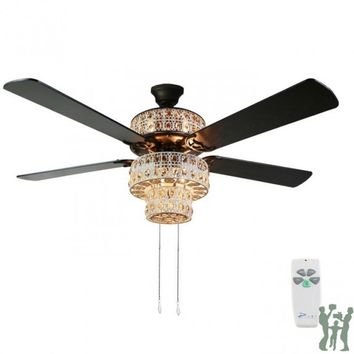 Antique White and Champagne Crystal Ceiling Fan by River of Goods Item: 16555S
