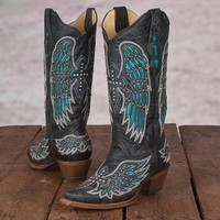 Corral Ladies' Turquoise Wings & Cross Toe Boots - Weatherbeeta - Shop by Brand