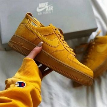"""Nike ""Air force Low to top shoes wheat color sandals leisure sports shoes Brown"