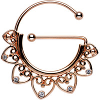 Clear Gem Rose Gold PVD Filigree Heart Universal Nipple Ring | Body Candy Body Jewelry