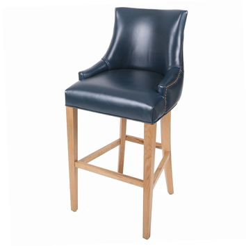Celinda Bonded Leather Tufted Back Bar Stool Natural Wood Legs, Vintage Blue