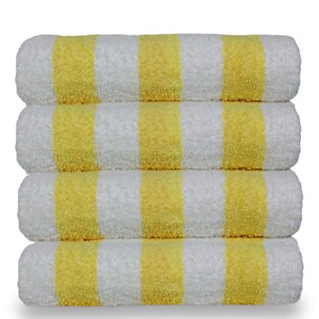 Luxury Hotel & Spa Towel 100% Cotton Pool Beach Towels - Cabana - Yellow - Set of 4