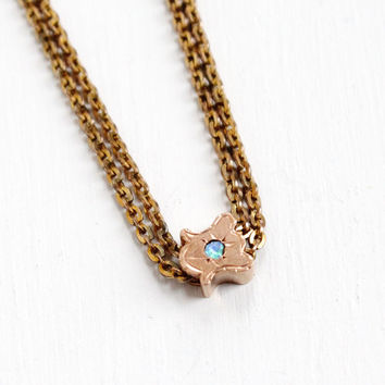 Antique Rosy Gold Filled Opal Slide Charm Necklace - Victorian Long Layered Fob Pocket Watch Chain Jewelry