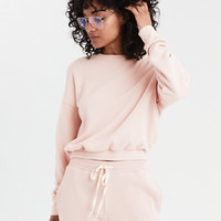AE Ahhmazingly Soft Cinched Crew Neck Sweatshirt, Pink