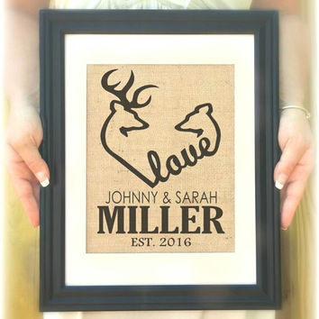Personalized Wedding Gift, Wedding Sign, Bridal Shower Gift , Family Name Sign, Browning Deer Heart Sign, Personalized Deer Wall Art