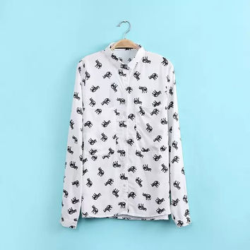 Ladies' Cotton Blouse Elephant Print Slim Shirt Long Sleeve Lapel Shirt Bottom Split Ends Blouse Office OL Shirt CJ6353