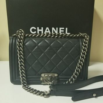 Authentic Chanel Medium Black Lambskin Le Boy Bag Silver Hardware f2z