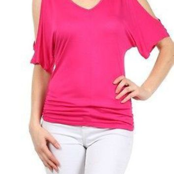 Sexy V Neck Dolman Open Short Sleeve Drape Jersey Shirred Tee Shirt Top