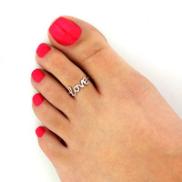 Adjustable letter love foot ring joint rings accessories free shipping